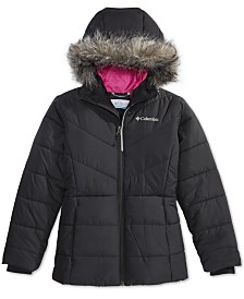 Columbia Big Girls Katelyn Crest Hooded Jacket With Faux-Fur Trim