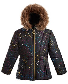 Little Girls Hooded Foil-Print Jacket With Faux-Fur Trim