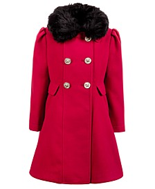 Little Girls Double-Breasted Swing Coat With Removable Faux-Fur Collar