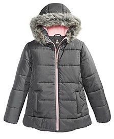 Toddler Girls Hooded Quilted Jacket With Faux-Fur Trim