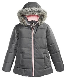 S Rothschild & CO Toddler Girls Hooded Quilted Jacket With Faux-Fur Trim