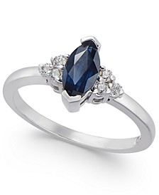 Sapphire (3/4 ct. t.w.) & Diamond (1/8 ct. t.w.) Ring in 14k White Gold
