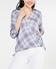 Juniors' Surplice Plaid Top