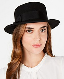 Wool Felt Small Boater Hat with Bow