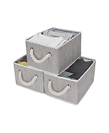 Foldable Fabric Storage Bin with Cotton Rope Handles 2-Pack