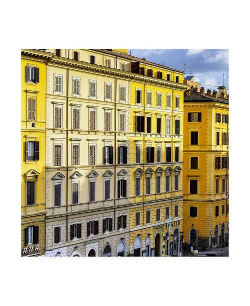 "Trademark Global Philippe Hugonnard Dolce Vita Rome 3 Italian Yellow Facades Canvas Art - 15.5"" x 21"""