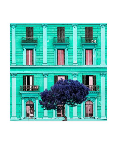 "Trademark Global Philippe Hugonnard Dolce Vita Rome 3 Coral Green Building Facade Canvas Art - 15.5"" x 21"""