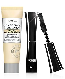 Receive a FREE Trial-Size Superhero Mascara and Trial-Size Confidence in a Gel Lotion with any $40 It Cosmetics Purchase!