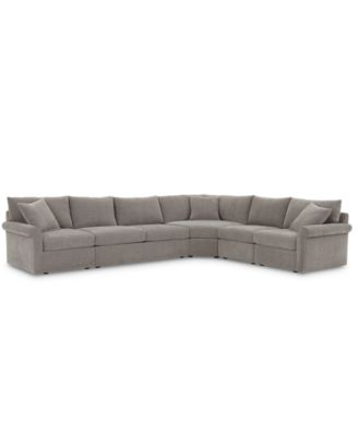 "Wedport 5-Pc. Fabric ""L"" Shape Modular Sleeper Sectional Sofa with Wedge Corner Piece, Created for Macy's"