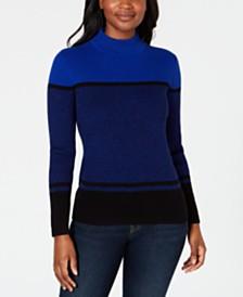 Karen Scott Ribbed Mock-Neck Cotton Sweater, Created for Macy's