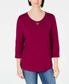 Karen Scott Cotton Studded 3/4-Sleeve Sweatshirt, Created for Macy's
