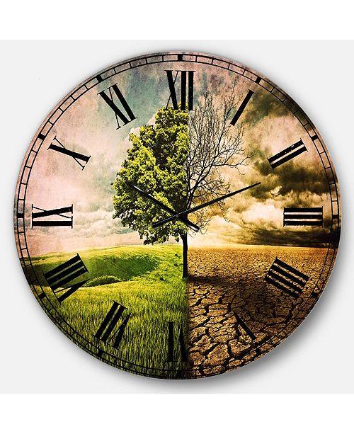 Designart Landscape Oversized Round Metal Wall Clock