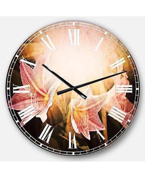 Designart Flower Oversized Round Metal Wall Clock