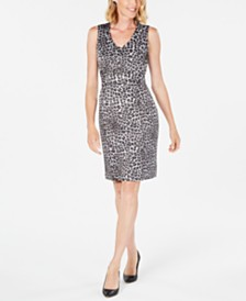 Kasper Leopard-Print Sheath Dress