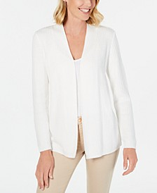 Petite Cotton Mixed-Knit Cardigan, Created for Macy's