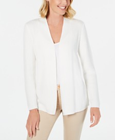Karen Scott Petite Cotton Mixed-Knit Cardigan, Created for Macy's