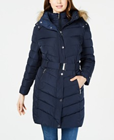 Tommy Hilfiger Plus Size Hooded Faux-Fur-Trim Puffer Coat, Created For Macy's