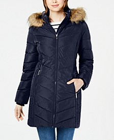 Petite Chevron Faux-Fur Trim Hooded Puffer Coat, Created For Macy's