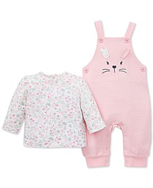 Baby Girls 2-Pc. Floral-Print T-Shirt & Bunny Overalls Set