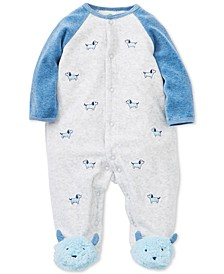 Baby Boys Embroidered Dogs Footed Coverall