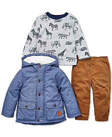 Baby Boys 3-Pc. Chambray Jacket, Animal-Print T-Shirt & Pants Set