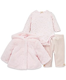 Baby Girls 3-Pc. Fuzzy Jacket, Star-Print Bodysuit & Striped Leggings Set
