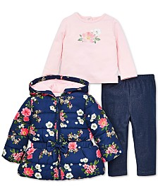 Little Me Baby Girls 3-Pc. Floral-Print Hooded Jacket, Floral-Print Top & Pants Set