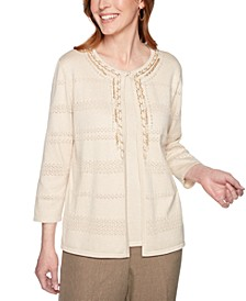 Petite Boardroom Layered-Look Chain-Trim Sweater