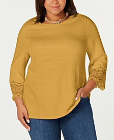 Plus Size Lace-Cuff Cotton T-Shirt, Created for Macy's