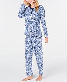 Charter Club Super Soft Textured Fleece Pajamas, Created For Macy's