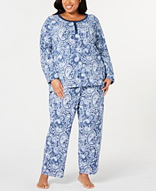 Plus Size Super Soft Textured Fleece Pajamas, Created For Macy's