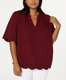 Monteau Trendy Plus Size Scalloped-Edge Top
