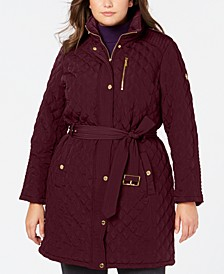 Plus Size Hooded Belted Jacket, Created for Macy's
