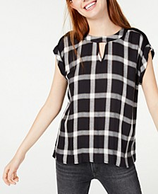 Juniors' Plaid Woven-Front Cutout Blouse