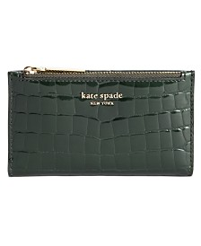 Kate Spade New York Sylvia Croc Embossed Slim Bifold Leather Wallet