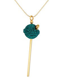 18K Gold over Sterling Silver Necklace, Medium Green Crystal Lollipop Pendant