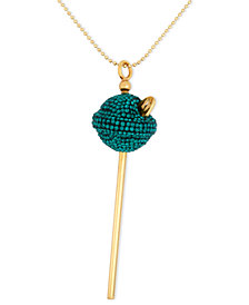 SIS by Simone I Smith 18k Gold over Sterling Silver Necklace, Medium Green Crystal Lollipop Pendant