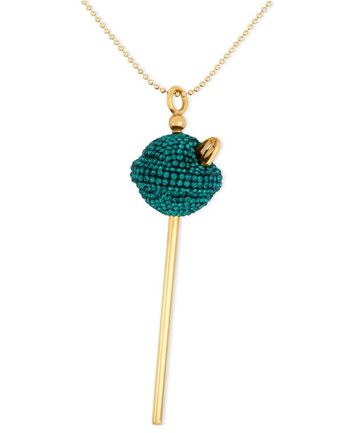 cec2f8003 Simone I. Smith 18K Gold over Sterling Silver Necklace, Medium Green Crystal  Lollipop Pendant