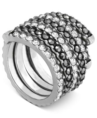 Genevieve & Grace Sterling Silver Ring, Crystal (2 ct. t.w.) and Marcasite Swirl Band Ring