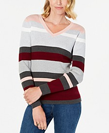 Petite Emma Cotton Striped Sweater, Created for Macy's