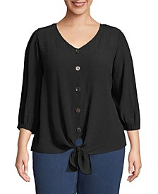 Tie Front Blouse with Button Front, Plus Size