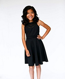Big Girls Double V Mesh Cut Out Neck Line Skater Party Dress