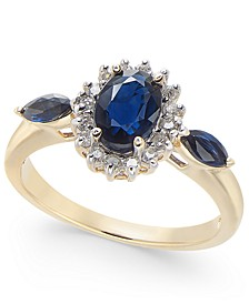 Sapphire (1-1/2 ct. t.w.) & Diamond (1/6 ct. t.w.) Ring in 14k Gold