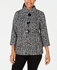 JM Collection Petite Printed 3/4-Sleeve Jacket, Created for Macy's