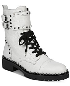 Jennifer Studded Combat Leather Boots