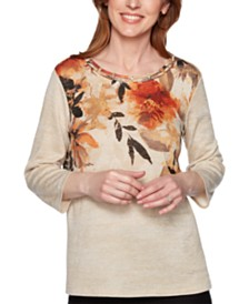 Alfred Dunner Street Smart Floral Print Knit Top