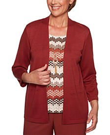 Cedar Canyon Pointelle-Knit Layered-Look Sweater Top