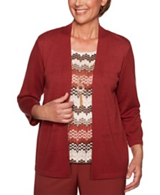 Alfred Dunner Cedar Canyon Pointelle-Knit Layered-Look Sweater Top