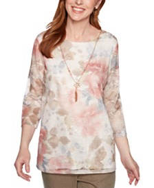 Alfred Dunner Boardroom Textured Mesh Necklace Top