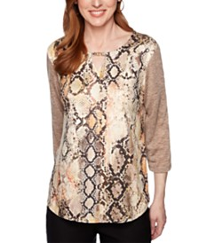 Alfred Dunner Street Smart Python-Print and Sueded Knit Top